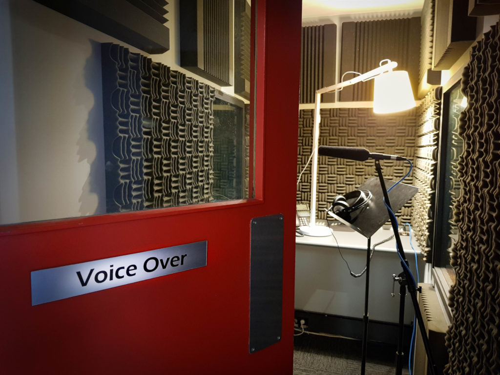 Looking into the voice over booth