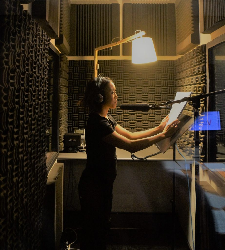 Student prepares to record her voice over